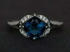 Cushion blue topaz ring love gemstone ring engagement ring 925 sterling silver #Affinity Wedding Ring Cushion, Cushion Cut Engagement Ring, Ring Engagement, Modern Jewelry, Fine Jewelry, Craft Jewelry, Jewelry Rings, Jewelry Box, Beautiful Wedding Rings