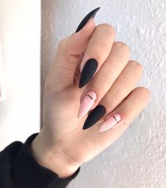 36 edgy ideas for matte black nails to break the manicure monotony page 31 Edgy Nails, Grunge Nails, Stylish Nails, Matte Nails, Trendy Nails, Swag Nails, Stiletto Nails, Glitter Nails, Pointed Nails