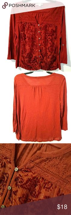 """Vintage America XL Deep Red Notched Neckline Top This Vintage America XL Deep Red Notched Neckline Top is in great used condition. Like new! Soft fabric with metallic stitches, lace inset, buttons up, and roll tab sleeves. Bust measures 22.5"""" across laying flat, measured from pit to pit, so 45"""" around unstretched. 25"""" long. ::: Bundle and save. Tops"""