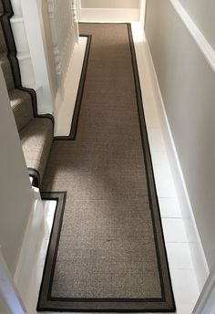 Crucial Trading Sisal Carpet fitted as bespoke stair runner through adjoining landings with contrasting black striped taping Rustic Staircase, Staircase Design, Modern Staircase, Sisal Stair Runner, Stair Runners, Staircase Carpet Runner, Narrow Hallway Decorating, Hallway Flooring, Hallway Carpet