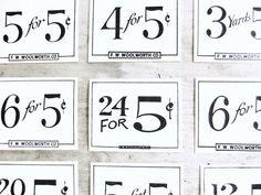 Vintage General Store Price Numbers by VintageScraps on Etsy, $5.00