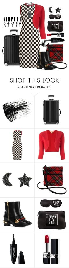 """""""Airport Style - First Class Look"""" by loves-elephants ❤ liked on Polyvore featuring Marc Jacobs, Rimowa, Givenchy, Michael Kors, Dooney & Bourke, Gucci, MyTagalongs, Maybelline, Christian Dior and David Yurman"""