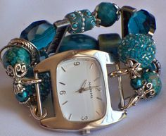 Teal Chunky Beaded Interchangeable Watch Band by BeadsnTime, $15.00