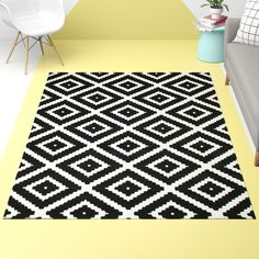 Leana Geometric Black/White Rug