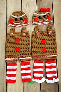 Gingerbread People Set by KCCreAtionsbyKarrie on Etsy Holiday Crochet, Crochet Bebe, Crochet For Boys, Cute Crochet, Crochet Crafts, Crochet Projects, Loom Knitting, Baby Knitting, Ropa American Girl
