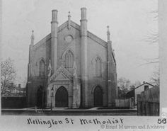 Wellington Street Methodist Church (Brantford, Ontario) was built 1854-55. The architect was John Turner, but built by Mellish and Russell