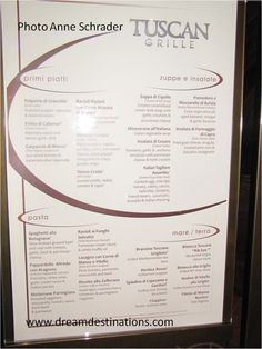 Tuscan Grill current menu - Celebrity Cruises - Cruise ...