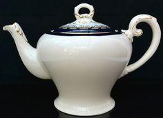 VINTAGE 1940s Myott Tea Coffee Pot Handpainted Royalty Cobalt Blue