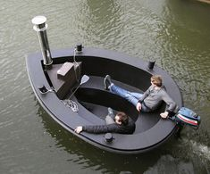 Floating Away in the hybrid Hot Tug Hot Tub Boat