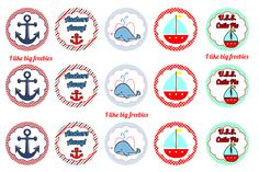 Nautical bottlecap image sheets