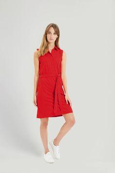 Lenna Shirt Dress - Red