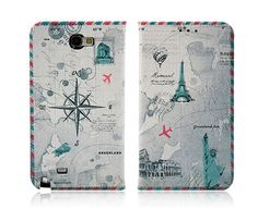 VINTAGE TRAVEL PARIS LONDON NEW YORK BOOK DIARY PHONE CASE FOR GALAXY NOTE 2