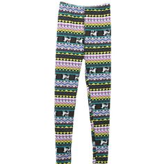 Striped Tribal Print Colorful Winter Lined Warm Christmas Leggings ($20) ❤ liked on Polyvore
