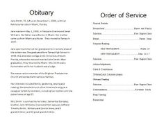Free Funeral Program Template  Program Template Template And The