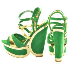 Green and Gold Two Tone Wedges | Sexyback Boutique