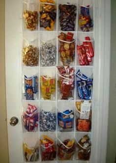 Need a place for snacks? Store them in a hanging shoe rack