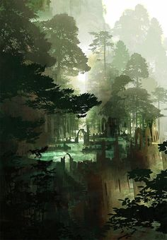 jungle ruins fantasy illustration The Art Of Animation Fantasy City, Fantasy Kunst, Fantasy Places, Fantasy World, Fantasy Forest, Forest Art, Misty Forest, Forest Painting, Fantasy Series