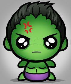 how to draw kawaii hulk