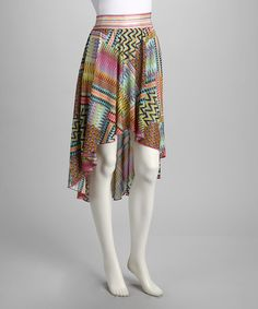 Pink & Green Hi-Low Skirt by Young Threads on #zulily