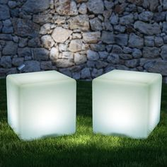 This Color Changing LED Light Cube sets a calm ambiance in your home! #lightcube #cubelight #homelighting #ledcube Bollard Lighting, Pathway Lighting, Path Lights, Landscape Lighting, Solar Lights, Outdoor Floor Lamps, Outdoor Flooring, Outdoor Lighting, Outdoor Decor