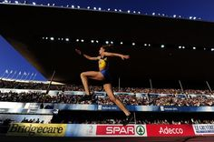 Ukraine's Olha Saladuha competes in the women's triple jump final at the 2012 European Athletics Championships at the Olympic Stadium in Helsinki on June 29, 2012.