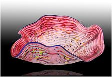 DALE CHIHULY Original Red Glass MACCHIA Signed Hand Blown Persian Basket Artwork