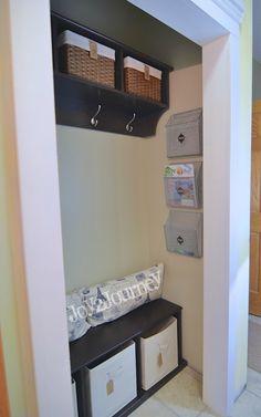 Convert a small entryway closet into a mudroom | DIY ideas from Joy 2 Journey