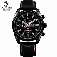 US $71.98 - Ochstin Expensive Brand Watches Luminous Leather Running Mens Sport Watches Men Waterproof Military Army Calendar Chronograph