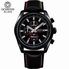 Ochstin Expensive Brand Watches Luminous Leather Running Mens Sport Watches Men Waterproof Military Army Calendar Chronograph