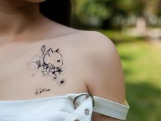 Cat/Kitten with Flowers Temporary Tattoo- Tattoo Sticker Peony Flower, Flowers, Queen Tattoo, Real Tattoo, Temporary Tattoo, Digital Prints, Ink, Tattoos, Tatuajes