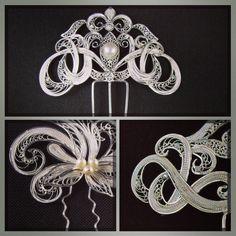 Diseños de tocados en arabescos realizados con hilos de plata.