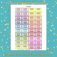 DIY Rainbow Family Game Night 40 Printable Planner Stickers pdf Erin Condren Kate Spade Kikkik Filofax Mambi