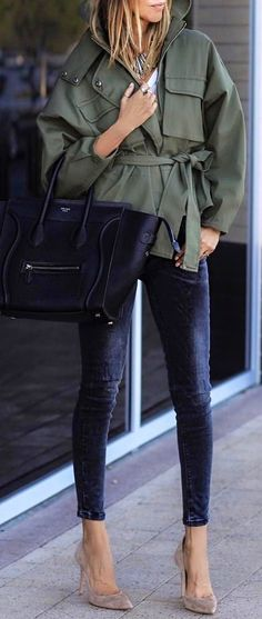#summer #outfits Khaki Jacket + Navy Skinny Jeans + Grey Pumps ✨