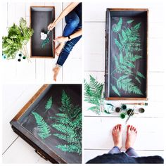 fern leaf - green power - chalk paint - print - pattern - green inside drawer - Annie Sloan paint - florence - olive - château grey - duck egg blue - antibes green - graphite @redesignbyagnieszkakrawczyk