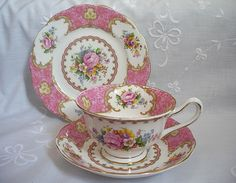 lady carlyle bone china | lady carlyle fine bone china trios cup saucer plate royal albert pink ...
