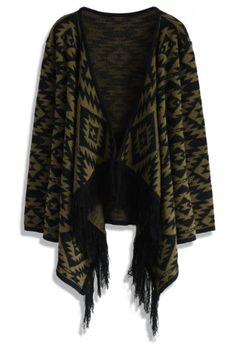 Aztec Fringed Knitted Cardigan