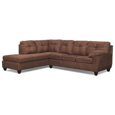 Good News. With the Ricardo sleeper sectional, you've found something that's both sophisticated and luxuriously comfortable. The refined look of tufted seat backs combines with the comfort of pillowtop arms and the supple seat cushions for an effect that's as stylish as it is inviting. A rich coffee finish with contrast accent stitching adds modern style to this handsome sectional. Two-piece sectional includes left-facing chaise and right-facing innerspring sleeper, as shown.