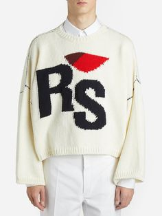 Raf Simons Branded Chunky Jumper In 00014 Offwh White Sweaters, Wool Sweaters, Raf Simons Clothing, I Love Ny, Asymmetrical Skirt, Cropped Sweater, Knitwear, Personal Taste, Knitting