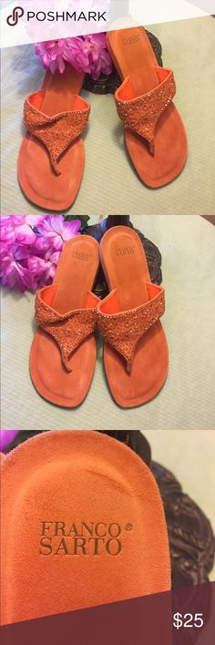 SUPER CUTE Franco Sarto orange leather sandals FRANCO SARTO BEAUTIFUL orange leather thong sandals - lightly worn excellent condition. Beaded designs - soft leather - GORGEOUS sandals!! Franco Sarto Shoes Sandals