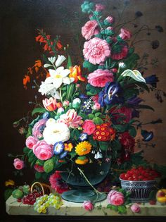 Severin Roesen, 1870. Early American - notice how the flowers are more simply rendered.