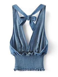 Shop Plunging V-Neckline Knot Back Elastic Waist Denim Top online. SheIn offers Plunging V-Neckline Knot Back Elastic Waist Denim Top & more to fit your fashionable needs. Diy Clothes Tops, Diy Clothes Design, Diy Tops, Clothes For Women, Denim Crop Top, Diy Jeans, Denim Fashion, Fashion Outfits, Womens Fashion