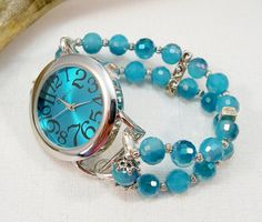 Turquoise Blue and Silver Watch with Interchangeable by babbleon, $35.00