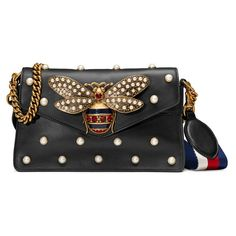 Gucci Broadway Leather Clutch (€2.730) ❤ liked on Polyvore featuring bags, handbags, clutches and black