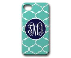 $49.95 Sea Foam/Navy Moroccan Personalized iphone cover from Paper Concierge