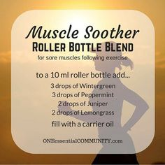 Did you overdo a workout? Wake up a little stiff? Try this muscle soother roller bottle blend made with wintergreen, peppermint, juniper, and lemongrass. It really works! Wintergreen Essential Oil, Essential Oils For Pain, Essential Oil Uses, Young Living Essential Oils, Essential Oil Diffuser, Roller Bottle Recipes, Muscle Roller, Doterra Essential Oils, Free Printable