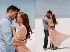 What to wear for engagement photos: a blush pink maxi dress and a blue shirt plus jeans! These White Sands National Park desert engagement photos were taken by Portland wedding photographer Katy Weaver Engagement Photo Outfits, Engagement Photos, Blush Pink Maxi Dress, Sands, New Mexico, Portland, What To Wear, National Parks, Couple Photos