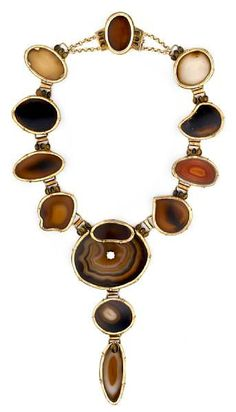 Tony Duquette (American, 1914-1999), 'Symbolizing Pluto and the Ability to Evoke Transformation', 1990s. An agate slice, tigers eye, zircon and vermeil necklace, signed Tony Duquette 1995