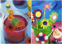 Flower crafts and ideas using colorful plastic straws