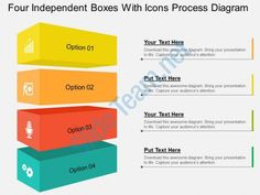 four independent boxes with icons process diagram flat powerpoint design Slide01