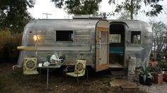 East Austin nursery on Tillery Street. Zilker Park, Vintage Trailers, Vintage Campers, Texas History, Happy Campers, Airstream, Recreational Vehicles, The Neighbourhood, Camping